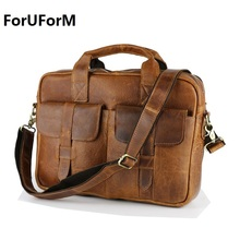 Wholesale Fashion Vintage Crazy horse Leather handbags Men Messenger Bags genuine leather shoulder bags laptop Briefcase LI-895(China)