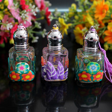 Wholesale small 10ml  Polymer clay beautiful  roll on perfume glass bottle 5pcs/lot