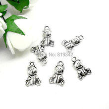 Free Shipping 50pcs/lot 16x10mm Antique Silver Double-Face Teddy Bear Charm Pendants Jewelry Findings J0190