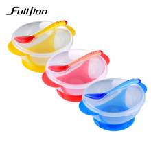 Fulljion Bowl Plate Baby Food Children's Tableware Set Feeding Cup Utensils Baby Plates For Kid Bpa Free Dinnerware Dishes Spoon(China)