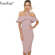 Buy ForeFair Spring Autumn Halter Cloak Sleeve Ruffles Elegant Party Dresses Women High Street Sexy Backless Long Bodycon Dress for $10.70 in AliExpress store