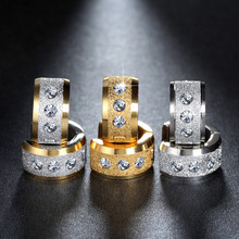 7mm*13mm 316L Stainless Steel Earings Fashion jewelry Earrings for women boucle doreille brincos pequeno Korean Aros Rhinestone