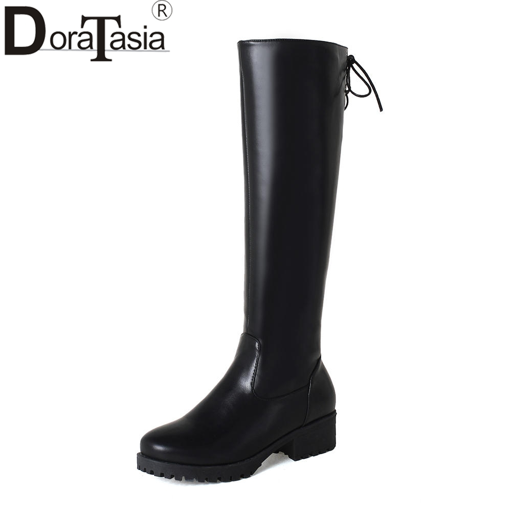 DORATASIA Brand New Solid Square Med Heels Zip Best Quality Shoes Woman Casual Winter Boots Black Big Size 33-43