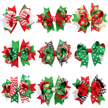 Striped wave point snowflake Bow Colorful Ribbon Hair Accessories Wrap clip barrettes Children infant hairpins Christmas gift