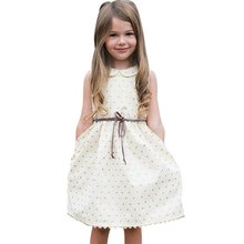 2017 New Summer Toddler Kids Baby Girls Cute Dot White Dress Sleeveless Princess Party Dresses prom dress wedding dress 2017