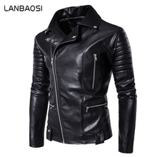LANBAOSI Male PU Leather Jacket Oblique Placket Zipper Fly Motorcycle Outerwear Coats Men Black Clothing for Biker Plus Size 5XL(Hong Kong)