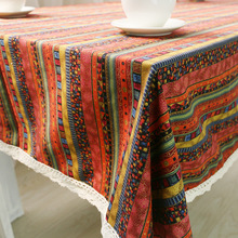 Bohemia Style Table Cloth with Lace Southeast Asia Mosaic stripe Printed Multifunctional rectangle Tablecloths Table Cover(China)