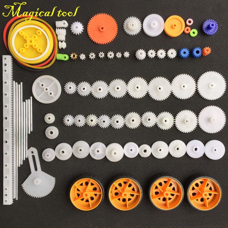 76pcs Plastic Shaft Single Double Reduction Crown Worm Gears Wheel For RC Toys Car DIY Accessories For Scientific Experiment(China)