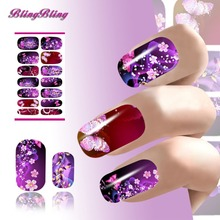 2PCS Water Transfer Nail Art Sticker Decals Flower Sexy Flirtatious Purple Shine Design For Nails Wraps Manicure Accessories