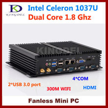 HDMI+VGA 1080P Industrial rugged Mini PC Intel Celeron 1037U 4GB RAM 32GB SSD Fanless Desktop Computer Windows 7 COM+USB 3.0(Hong Kong)