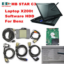 For mercedes benz laptop car diagnostics mb star c3 multiplexer with Laptop x200t and 2015 07 Software HDD auto tester DHL Free