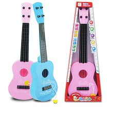 Guitar Toys 4 String for Kids Baby Children Small Musical Instrument Educational Gift Pink or Blue Color