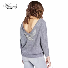 High Quality 2017 Spring New Runway Sweater Fashion Handmade Eagle Beading Tops Women Pullovers Sexy Backless Knitwear WS-019(China)