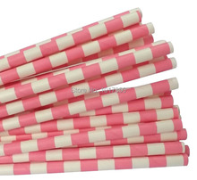 Promotions! 75pcs hot pink sailor striped Paper Straws paper party straws wedding birthday party Favor decoration supplies 75pcs(China)
