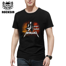 Rocksir new arrive famous band series man's t-shirt METALLICA letter guitar solo cartoon print heavy metal rock style men's teep(China)