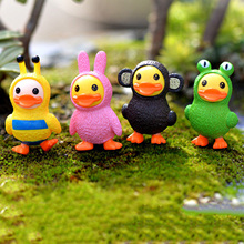 4Pcs/lot Mini Figurines Miniature Little Duck Doll Resin Crafts Ornament Fairy Garden Gnomes Moss Terrariums Home Decorations(China)