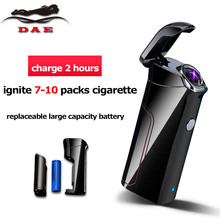 Double Arc Cigarette Lighter Creative Replaceable Battery Electronic Cigar Lighter Big Capacity Windproof Lighter Best Gift(China)
