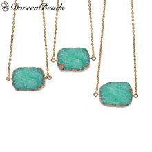 "DoreenBeads Resin Druzy /Drusy Necklace Link Cable Chain Gold color Green Rectangle 47.0cm(18 4/8"") long, 1 Piece 2016 new"