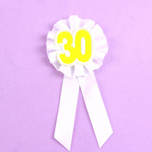 Yellow number ribbon badge happy birthday brooch white ribbon 21 30 40 50 souvenir brooch event party 50% off if buy 5pcs
