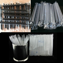 "100 pcs 7.5"" Clear individually wrapped Bubble Boba tea fat Straws Smoothies Jumbo Thick holiday event party Drinking PP straws"