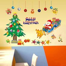 Christmas PVC Removable Display Window Showcase Decor Wall Stickers Santa Claus wall stickers Cartoon PVC wallpaper 50*70cm
