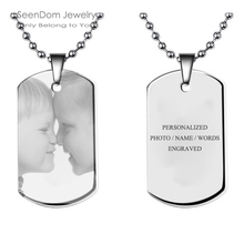 Personalized Photo Words Engraved Stainless Steel Tag Necklace Custom Name Pendant Necklace Gift For Family Friends Lovers Girls