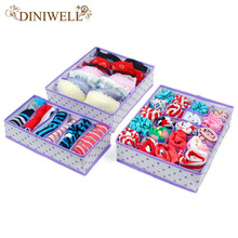 DINIWELL 4 Color Home Storage Underwear Bra Organizers Foldable Storage Boxes For Socks Ties Lingerie Drawer Container Organiser(China)
