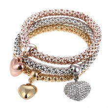 MINHIN New Fashion Heart Design 3 PCS/Set Crystal Bracelet & Bangle Elastic Bracelets Set For Women Wholesale pulseira masculina