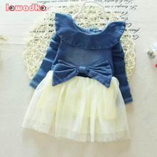 New Baby Denim Dress Fashion Style Turn-down Collar Full Sleeve Cotton and Mesh Baby Girls Tutu Dresses
