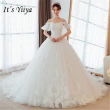It s YiiYa New Beading Boat Neck Train Wedding Dresses Off White Brides  Gowns Maternity Vestidos Deovia Casamento HX091 18c77d889140