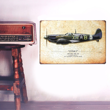 European Retro style airplane board sign Wall stickers metal iron crafts pictures Furnishing articles painting draw bar house(China)