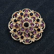 Hot Selling Assorted Colors Crystal Rhinestones Flower Brooch Pins for Women in Gold Color Plating