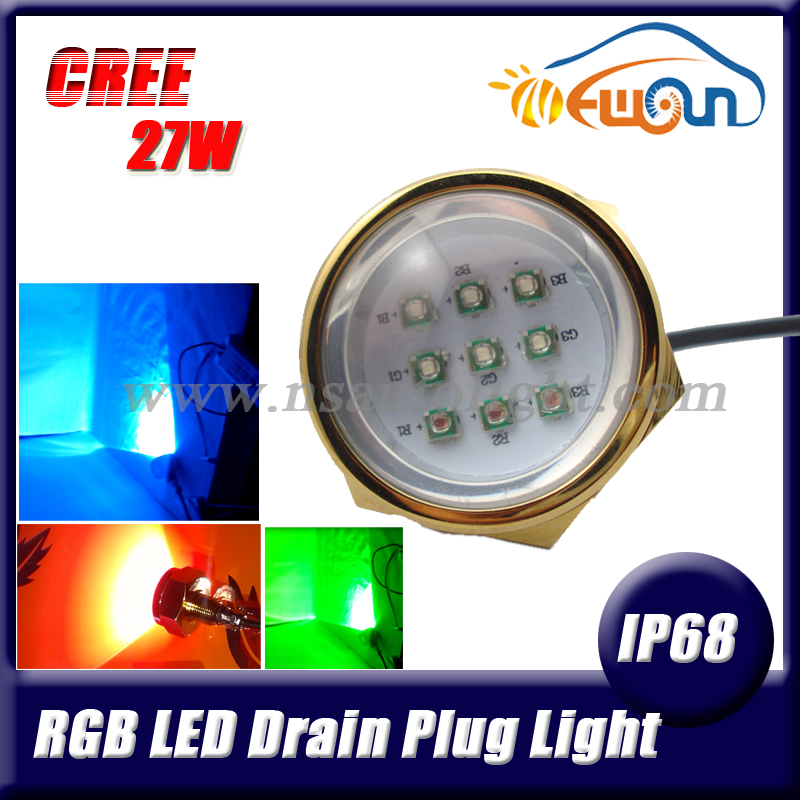 Free Shipping 1pcs dc12v or 24v IP68 waterproof ip68 rgb led underwater lights marine drain plug lamp rgb light for yacht boats<br><br>Aliexpress