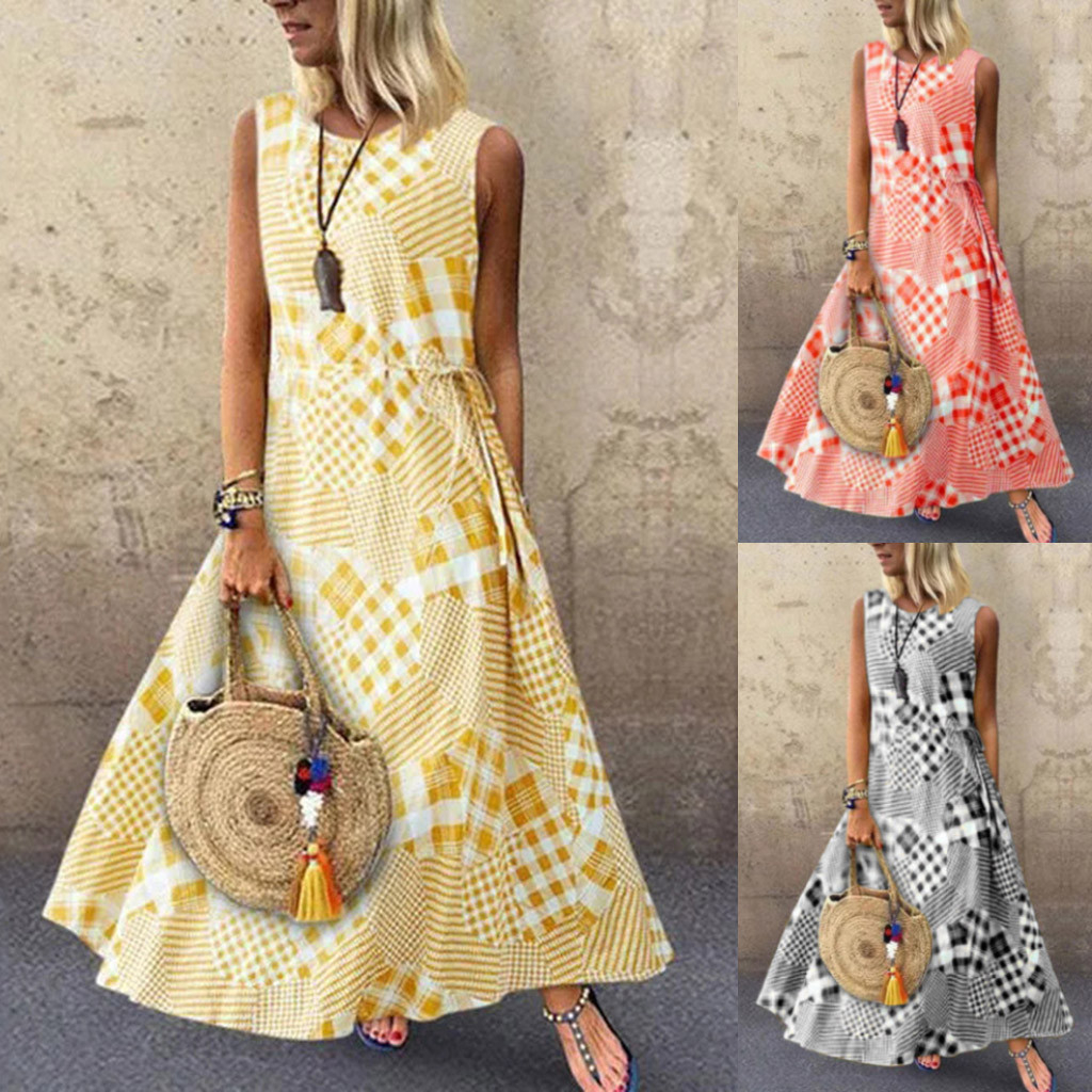 Women Sexy Lace Dress Vintage Print Patchwork O-Neck Sleeveless Summer Plus Size Maxi Long Ladies Dresses Elegant Girls  723