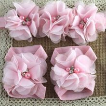 1 Set Chiffon Flower Elastic Headband Barefoot Sandals Band For Kids Girl Gift Softly Comfortable Headband Hair Accessories(China)