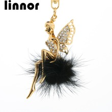 Linnor Delicate Angel Wings Elves Keychain Fur Rhinestone Ballerina Pompon Keyring Mary Kay Key Chain for Lady Bag key Holder