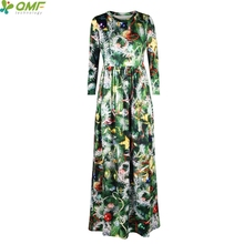Green Christmas Tree Print Tennis Long Dress Holiday Party Maxi Dresses Christmas Floral Vintage Women Vestidos Floor Length(China)