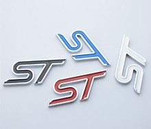 20X Metal Styling Red Blue Black white ST Chrome Car Emblem Badge Auto Decal 3D Sticker Emblem for Ford Focus ST Mondeo