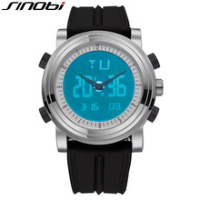 SINOBI Watches Men Top Brand Luxury Clock Chronograph Waterproof Sports Watch For Men Relogio Masculino Silicone Wrist Watch Hot(China)