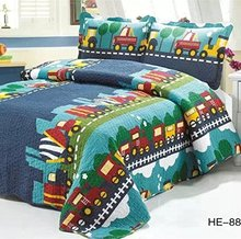 FADFAY 100% Home Textile Cotton Kids Bedding Set Boys Train Vehicle Thin Comforter Set twin/queen Pillow Case Bedding