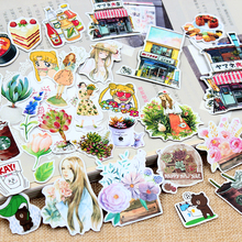 Kawaii Girl Kids Cartoon Animal Floral Food Stickers Diary Scrapbooking Label School Office Supplies Cute Stationery Gift Decor(China)