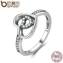 BAMOER 925 Sterling Silver Double Heart in Heart Finger Rings & Clear CZ Rings For Women Sterling Silver Fine Jewelry SCR057(China)