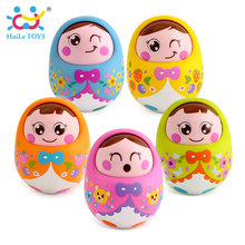 HUILE TOYS 979 Baby Toys Rattles Nodding Matlyoshka Tumbler Doll Sweet Bell Music Roly-poly Learning Educational Toys Xmas Gifts(China)