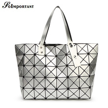 With Logo BaoBao Women BAO BAO Bag Lady Geometry Package Sequins Mirror Saser Plain Split Joint Mujer Mosaic Top Handle Bag Tote