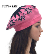 2016 Winter Angora Blend Ladies Knit Berets For Women Beanies Hat Maple Leaf Beanie Knitted Caps Bonnet Hats