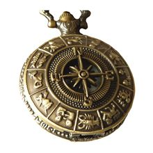 Vintage Brass Pocket Watch with Compass Necklace Twelve Constellation Navigation Necklace Pocket Watch(China)