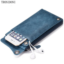New Fashion Wallet Women Genuine Leather Purse Brand Large Capacity Carteira Femini Lady Long Purse Phone Pocket For iPhone7(China)