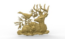 deer and bird 3D model relief STL model for CNC Router carving engraving artcam type3 aspire M372