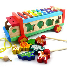Multifunctional wooden animal cartoon serinette drag piano hand knock children's educational wooden toys puzzles educational toy