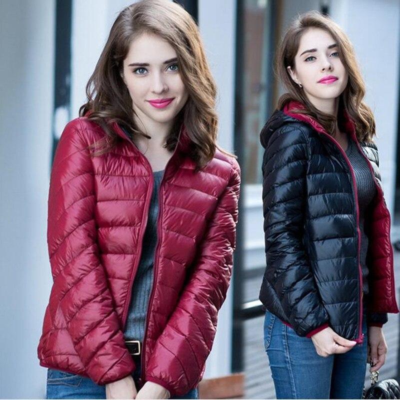 S-XXXL New 2017 Winter Two Side Women 90% White Duck Down Jacket Women's Hooded Ultra Light Down Jackets Warm Winter Coat Parkas